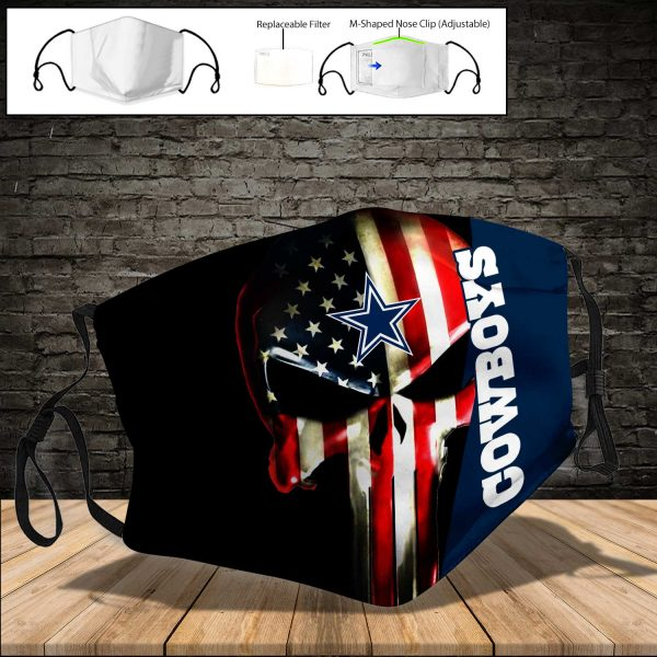 NFL - Dallas Cowboys PM 2.5 Air Pollution Masks Washable Reusable Face Mask F#1 (Print Fabric, Reusable Dust Mask, Face Cover with Filter Activated Carbon PM 2.5)