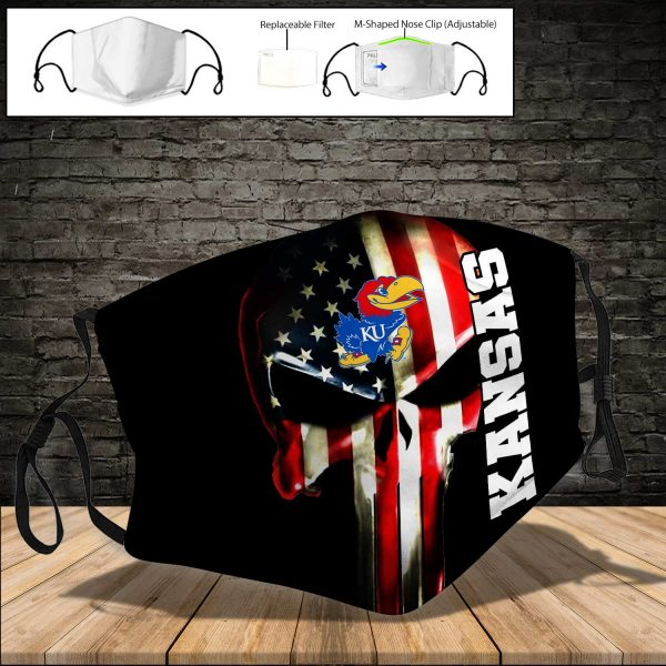 NCAA - Kansas Jayhawks PM 2.5 Air Pollution Masks Washable Reusable Face Mask F#1 Print Fabric, Reusable Dust Mask, Face Cover with Filter Activated Carbon PM 2.5