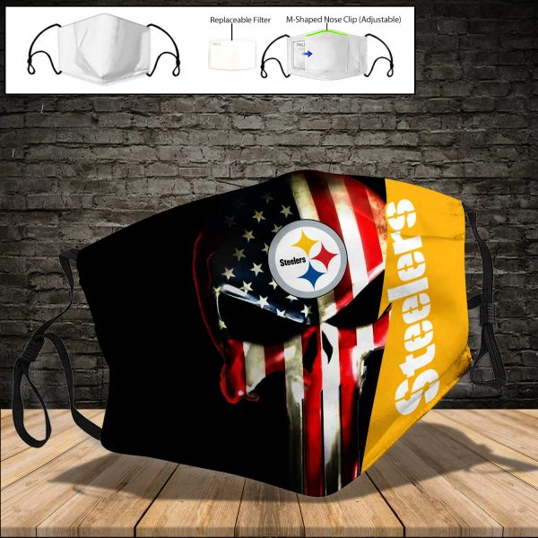 NFL - Pittsburgh Steelers PM 2.5 Air Pollution Masks Washable Reusable Face Mask F#1 (Print Fabric, Reusable Dust Mask, Face Cover with Filter Activated Carbon PM 2.5)