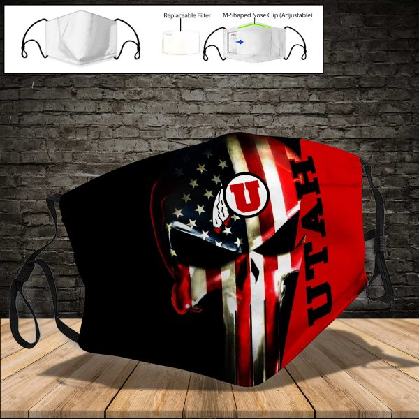 NCAA - Utah Utes PM 2.5 Air Pollution Masks Washable Reusable Face Mask F#1 Print Fabric, Reusable Dust Mask, Face Cover with Filter Activated Carbon PM 2.5