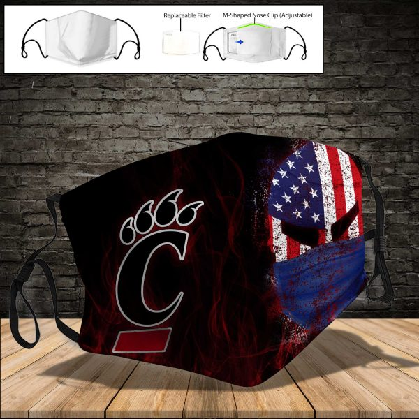 NCAA - Cincinnati Bearcats PM 2.5 Air Pollution Masks Washable Reusable Face Mask F#3 Print Fabric, Reusable Dust Mask, Face Cover with Filter Activated Carbon PM 2.5
