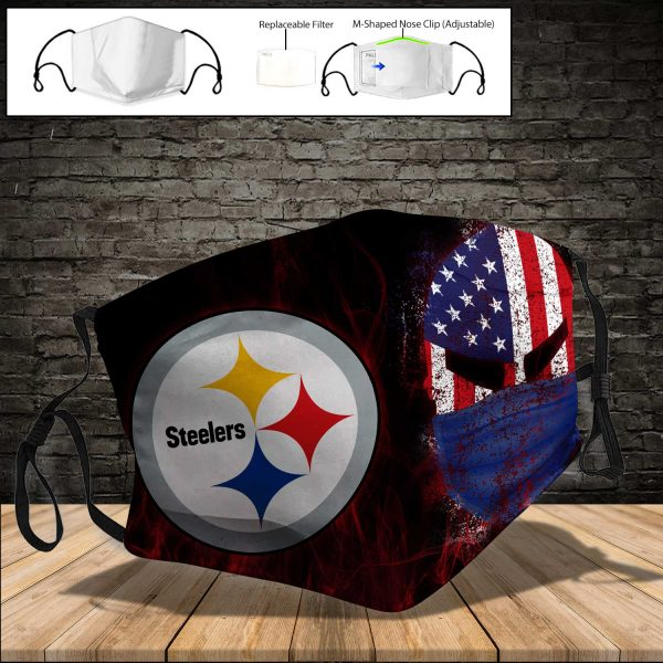 NFL - Pittsburgh Steelers PM 2.5 Air Pollution Masks Washable Reusable Face Mask F#3 (Print Fabric, Reusable Dust Mask, Face Cover with Filter Activated Carbon PM 2.5)
