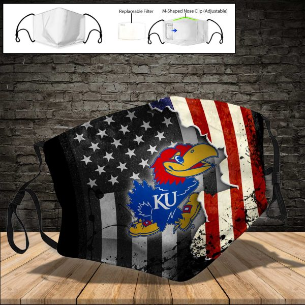 NCAA - Kansas Jayhawks PM 2.5 Air Pollution Masks Washable Reusable Face Mask F#2 Print Fabric, Reusable Dust Mask, Face Cover with Filter Activated Carbon PM 2.5