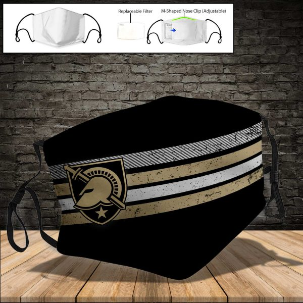 NCAA - Army Black Knights PM 2.5 Air Pollution Masks Washable Reusable Face Mask F#4 Print Fabric, Reusable Dust Mask, Face Cover with Filter Activated Carbon PM 2.5