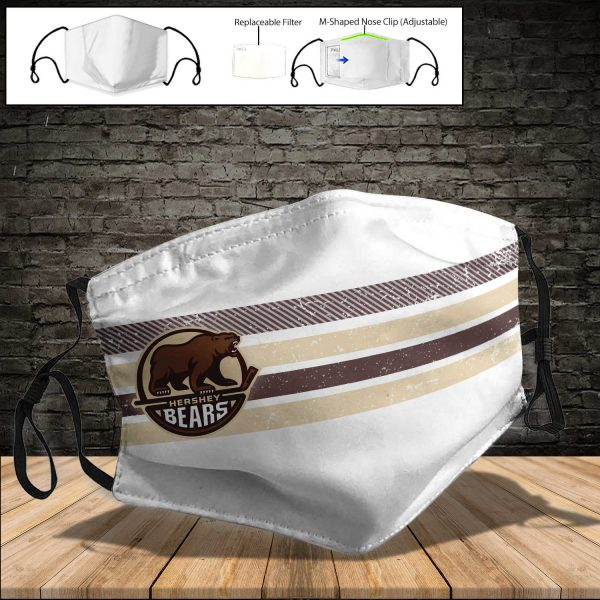 Hershey Bears PM 2.5 Air Pollution Masks Washable Reusable Face Mask F#4