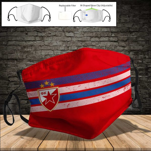 Red Star Belgrade PM 2.5 Air Pollution Masks Washable Reusable Face Mask F#4