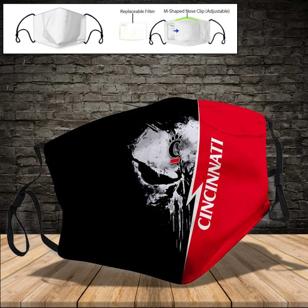 NCAA - Cincinnati Bearcats PM 2.5 Air Pollution Masks Washable Reusable Face Mask F#8 Print Fabric, Reusable Dust Mask, Face Cover with Filter Activated Carbon PM 2.5