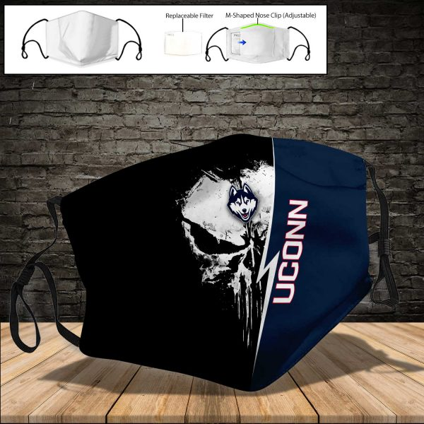 NCAA - UCONN Huskies PM 2.5 Air Pollution Masks Washable Reusable Face Mask F#8 Print Fabric, Reusable Dust Mask, Face Cover with Filter Activated Carbon PM 2.5