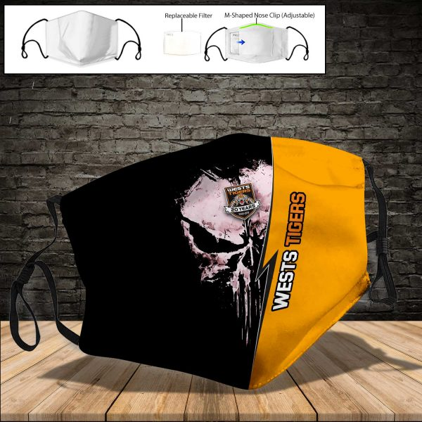 Wests Tigers PM 2.5 Air Pollution Masks Washable Reusable Face Mask F#8