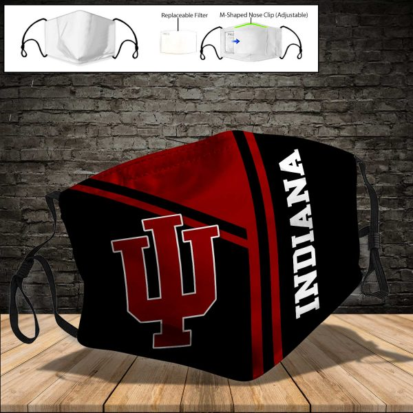 NCAA - Indiana Hoosiers PM 2.5 Air Pollution Masks Washable Reusable Face Mask F#8 Print Fabric, Reusable Dust Mask, Face Cover with Filter Activated Carbon PM 2.5