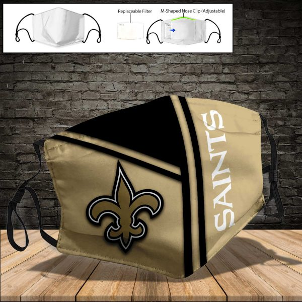 NFL - New Orleans Saints PM 2.5 Air Pollution Masks Washable Reusable Face Mask F#8 (Print Fabric, Reusable Dust Mask, Face Cover with Filter Activated Carbon PM 2.5)