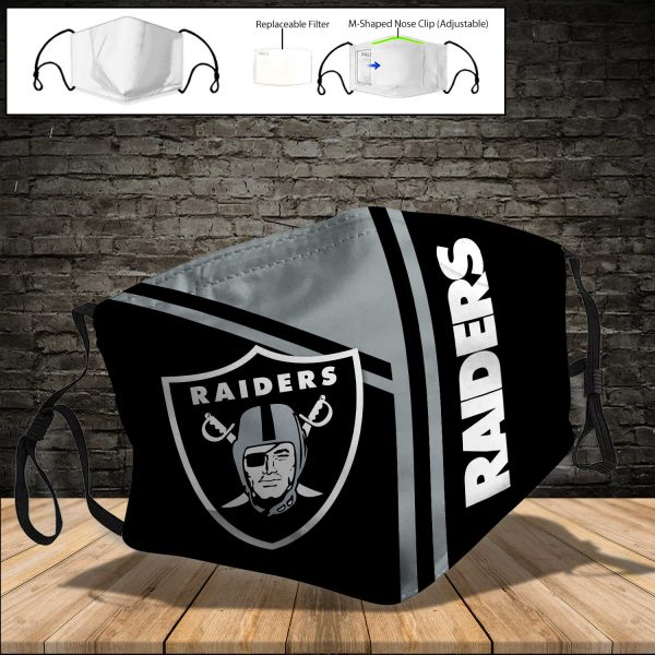 NFL - Oakland Raiders PM 2.5 Air Pollution Masks Washable Reusable Face Mask F#8 (Print Fabric, Reusable Dust Mask, Face Cover with Filter Activated Carbon PM 2.5)