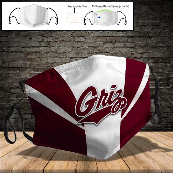 NCAA - Montana Grizzlies PM 2.5 Air Pollution Masks Washable Reusable Face Mask F#7 Print Fabric, Reusable Dust Mask, Face Cover with Filter Activated Carbon PM 2.5