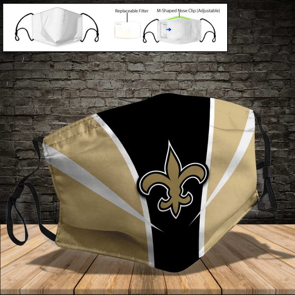 NFL - New Orleans Saints PM 2.5 Air Pollution Masks Washable Reusable Face Mask F#7 (Print Fabric, Reusable Dust Mask, Face Cover with Filter Activated Carbon PM 2.5)