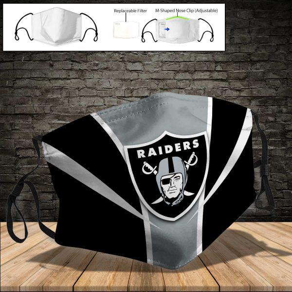 NFL - Oakland Raiders PM 2.5 Air Pollution Masks Washable Reusable Face Mask F#7 (Print Fabric, Reusable Dust Mask, Face Cover with Filter Activated Carbon PM 2.5)