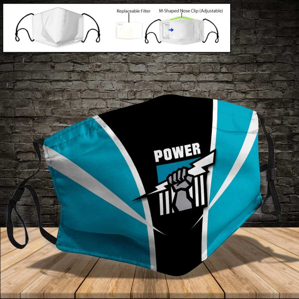 Port Adelaide Power PM 2.5 Air Pollution Masks Washable Reusable Face Mask F#7