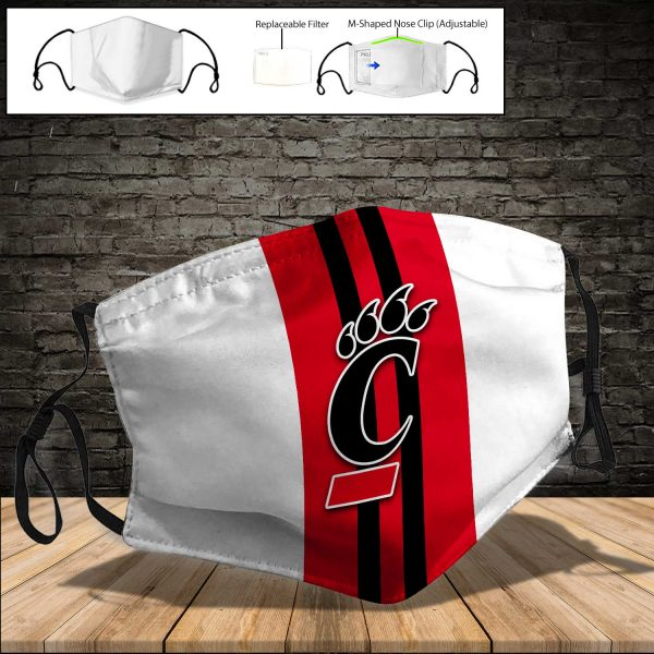 NCAA - Cincinnati Bearcats PM 2.5 Air Pollution Masks Washable Reusable Face Mask F#6 Print Fabric, Reusable Dust Mask, Face Cover with Filter Activated Carbon PM 2.5