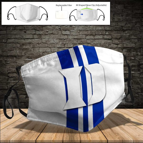 NCAA - Duke Blue Devils PM 2.5 Air Pollution Masks Washable Reusable Face Mask F#6 Print Fabric, Reusable Dust Mask, Face Cover with Filter Activated Carbon PM 2.5