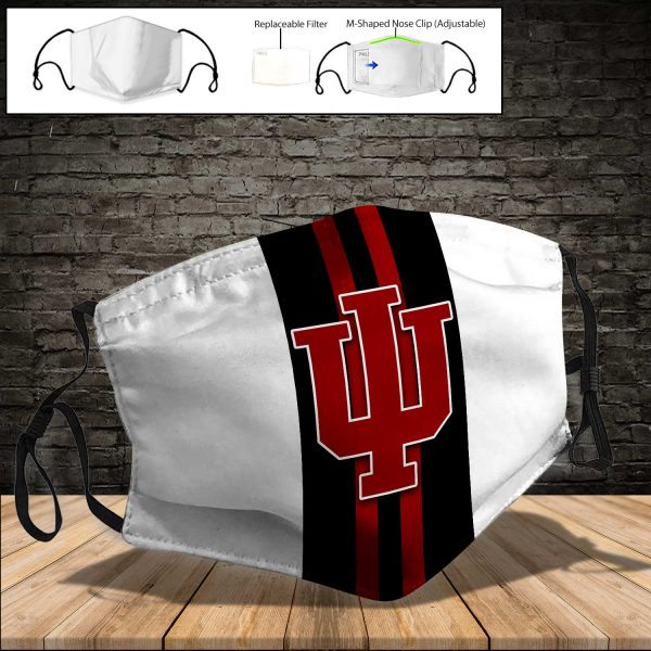 NCAA - Indiana Hoosiers PM 2.5 Air Pollution Masks Washable Reusable Face Mask F#6 Print Fabric, Reusable Dust Mask, Face Cover with Filter Activated Carbon PM 2.5
