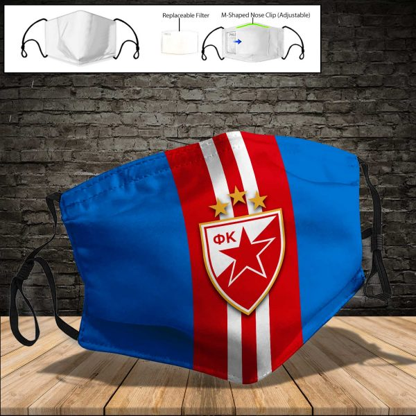 Red Star Belgrade PM 2.5 Air Pollution Masks Washable Reusable Face Mask F#6