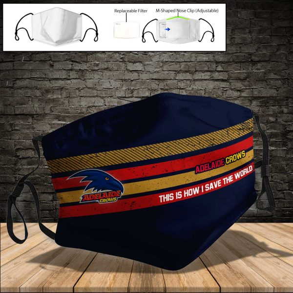 Adelaide Crows PM 2.5 Air Pollution Masks Washable Reusable Face Mask F#5