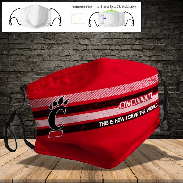 NCAA - Cincinnati Bearcats PM 2.5 Air Pollution Masks Washable Reusable Face Mask F#5 Print Fabric, Reusable Dust Mask, Face Cover with Filter Activated Carbon PM 2.5