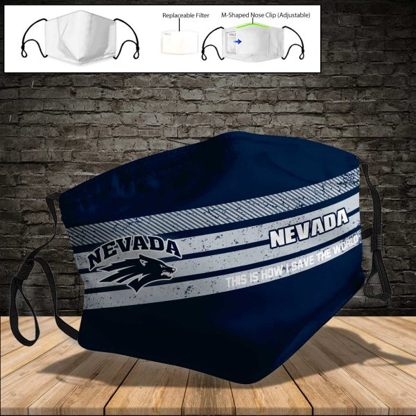 NCAA - Nevada Wolf Pack PM 2.5 Air Pollution Masks Washable Reusable Face Mask F#5 Print Fabric, Reusable Dust Mask, Face Cover with Filter Activated Carbon PM 2.5