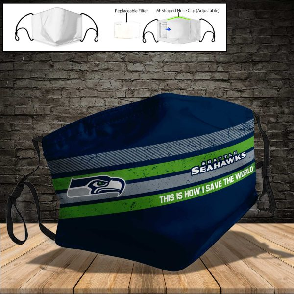 NFL - Seattle Seahawks PM 2.5 Air Pollution Masks Washable Reusable Face Mask F#5 (Print Fabric, Reusable Dust Mask, Face Cover with Filter Activated Carbon PM 2.5)