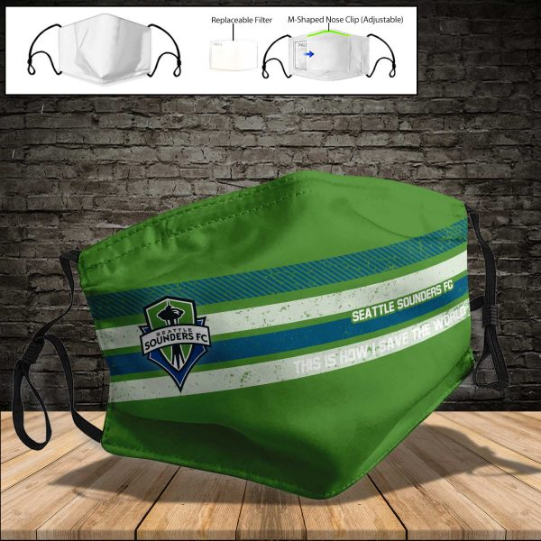 Seattle Sounders FC PM 2.5 Air Pollution Masks Washable Reusable Face Mask F#5