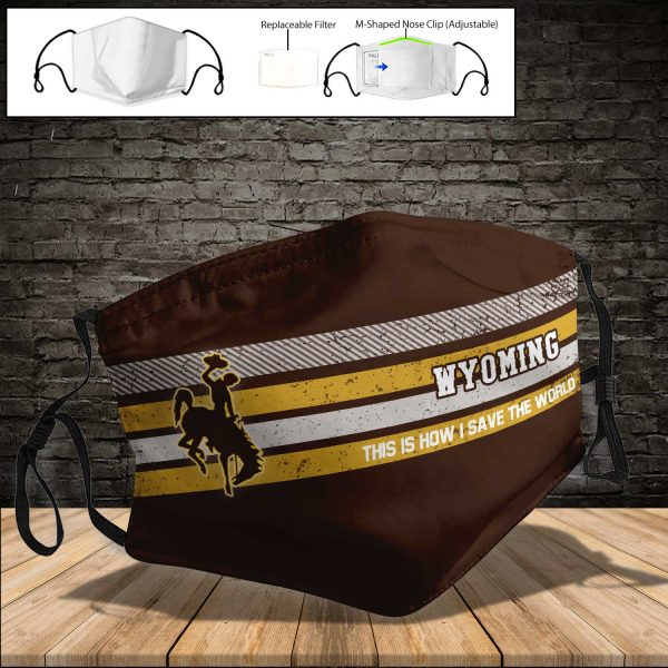 NCAA - Wyoming Cowboys PM 2.5 Air Pollution Masks Washable Reusable Face Mask F#5 Print Fabric, Reusable Dust Mask, Face Cover with Filter Activated Carbon PM 2.5