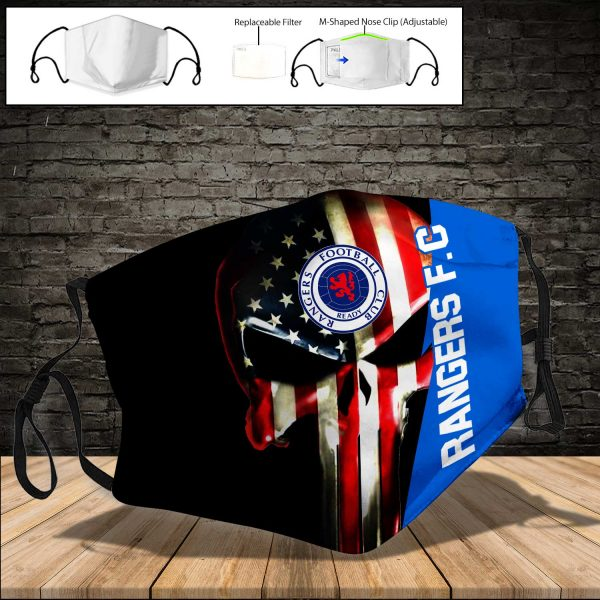 Rangers F.C PM 2.5 Air Pollution Masks Washable Reusable Face Mask F#1