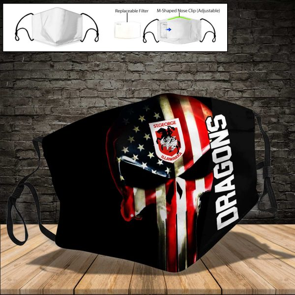 St. George Illawarra Dragons PM 2.5 Air Pollution Masks Washable Reusable Face Mask F#1