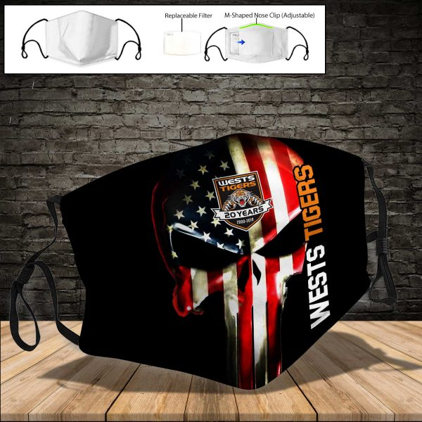 Wests Tigers PM 2.5 Air Pollution Masks Washable Reusable Face Mask F#1