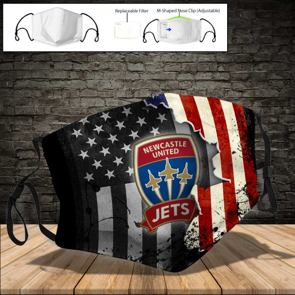 Newcastle Jets PM 2.5 Air Pollution Masks Washable Reusable Face Mask F#2