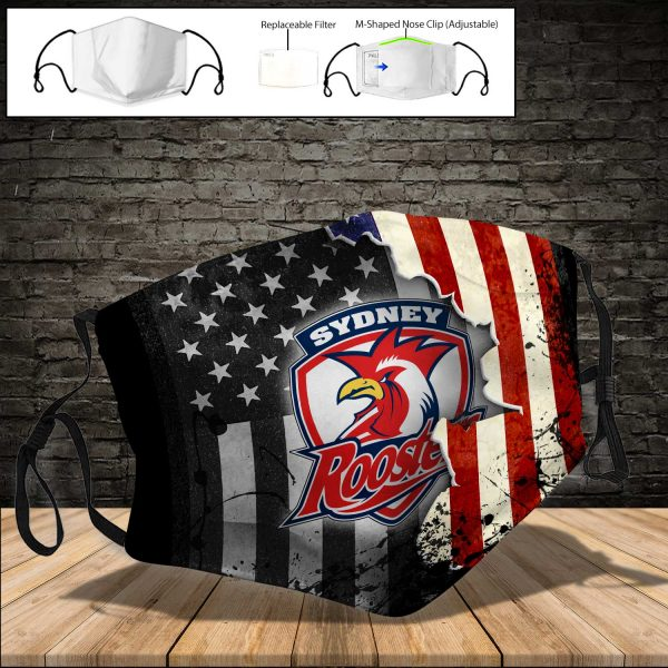 Sydney Roosters PM 2.5 Air Pollution Masks Washable Reusable Face Mask F#2