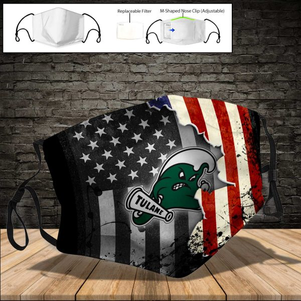 NCAA - Tulane Green Wave PM 2.5 Air Pollution Masks Washable Reusable Face Mask F#2 Print Fabric, Reusable Dust Mask, Face Cover with Filter Activated Carbon PM 2.5