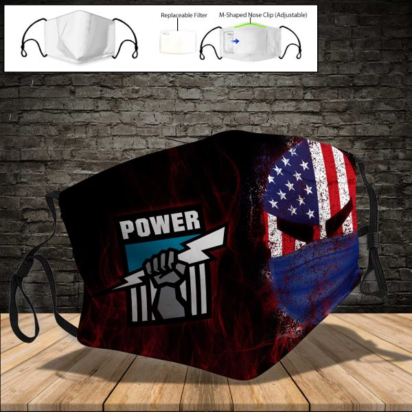 Port Adelaide Power PM 2.5 Air Pollution Masks Washable Reusable Face Mask F#3