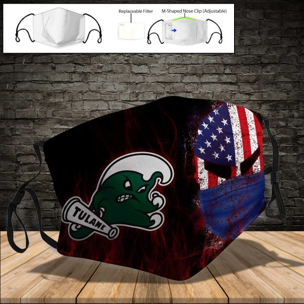 NCAA - Tulane Green Wave PM 2.5 Air Pollution Masks Washable Reusable Face Mask F#3 Print Fabric, Reusable Dust Mask, Face Cover with Filter Activated Carbon PM 2.5