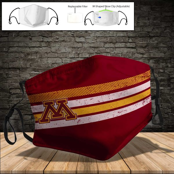 NCAA - Minnesota Golden Gophers PM 2.5 Air Pollution Masks Washable Reusable Face Mask F#4 Print Fabric, Reusable Dust Mask, Face Cover with Filter Activated Carbon PM 2.5