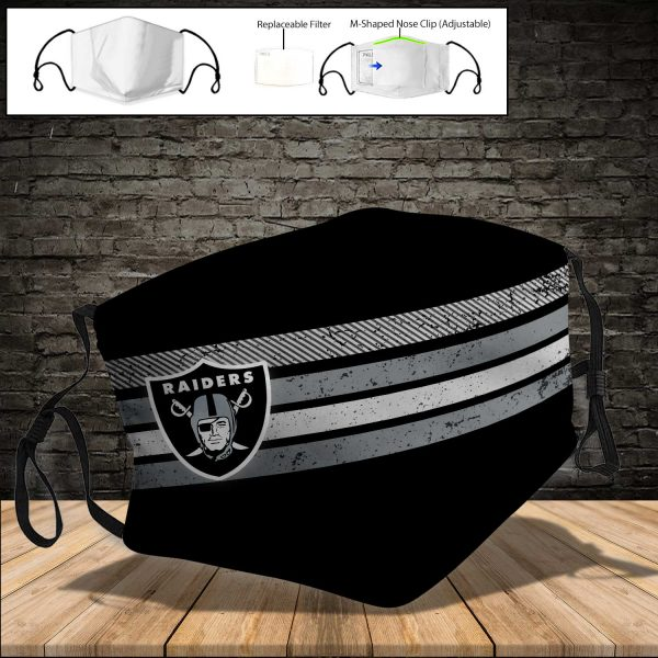 NFL - Oakland Raiders PM 2.5 Air Pollution Masks Washable Reusable Face Mask F#4 (Print Fabric, Reusable Dust Mask, Face Cover with Filter Activated Carbon PM 2.5)