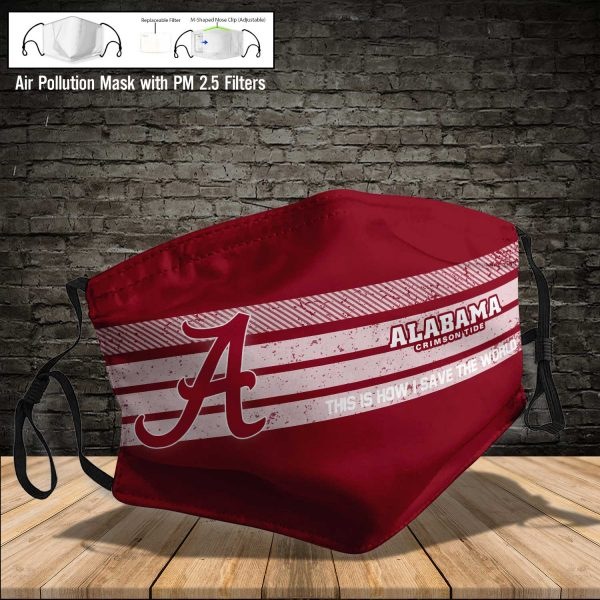 NCAA - Alabama Crimson Tide #6 Save The World Print Fabric, Reusable Dust Mask, Face Cover with Filter Activated Carbon PM 2.5