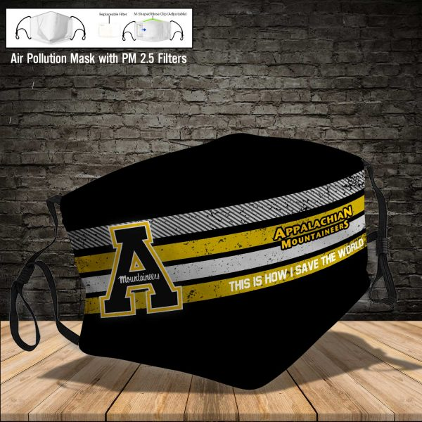 NCAA - Appalachian State Mountaineers #6 Save The World Print Fabric, Reusable Dust Mask, Face Cover with Filter Activated Carbon PM 2.5