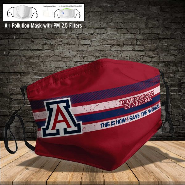 NCAA - Arizona Wildcats football #6 Save The World Print Fabric, Reusable Dust Mask, Face Cover with Filter Activated Carbon PM 2.5