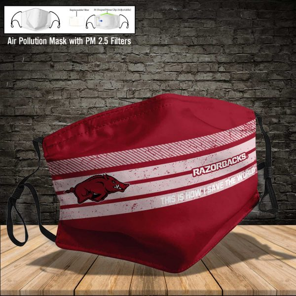 NCAA - Arkansas Razorbacks #6 Save The World Print Fabric, Reusable Dust Mask, Face Cover with Filter Activated Carbon PM 2.5