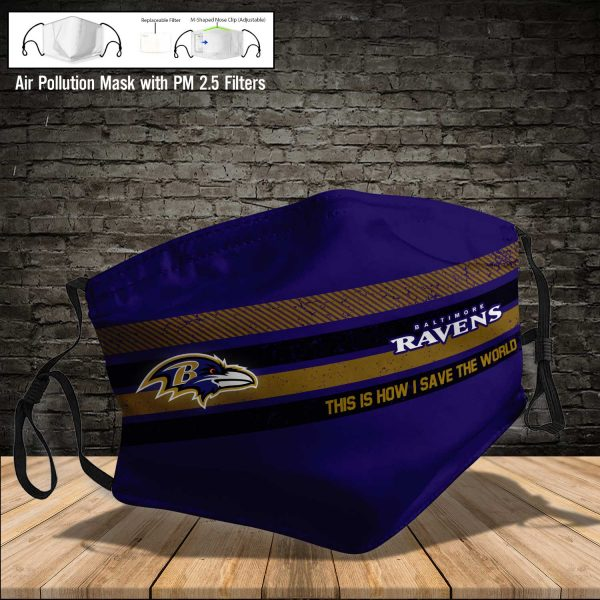 NFL - Baltimore Ravens #6 Save The World (Print Fabric, Reusable Dust Mask, Face Cover with Filter Activated Carbon PM 2.5)