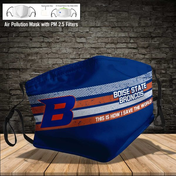 NCAA - Boise State Broncos #6 Save The World Print Fabric, Reusable Dust Mask, Face Cover with Filter Activated Carbon PM 2.5
