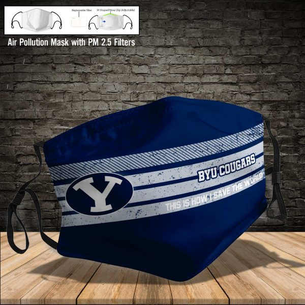 NCAA - BYU Cougars #6 Save The World Print Fabric, Reusable Dust Mask, Face Cover with Filter Activated Carbon PM 2.5