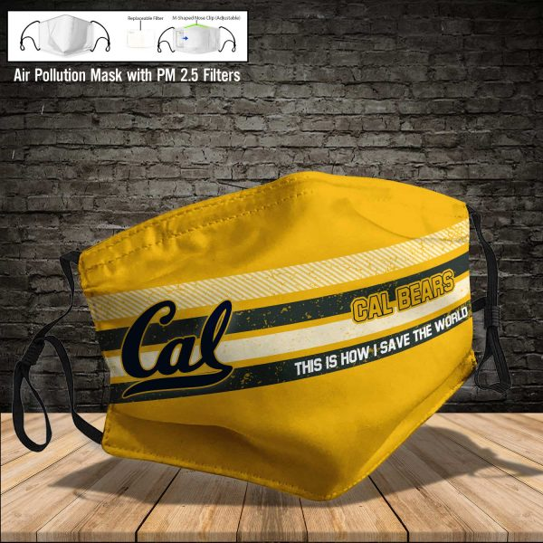 NCAA - Cal Bears #6 Save The World Print Fabric, Reusable Dust Mask, Face Cover with Filter Activated Carbon PM 2.5