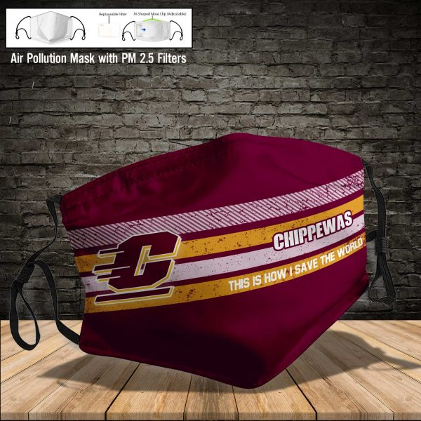NCAA - Central Michigan Chippewas #6 Save The World Print Fabric, Reusable Dust Mask, Face Cover with Filter Activated Carbon PM 2.5