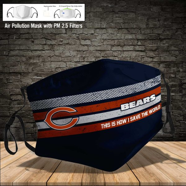 NFL - Chicago Bears #6 Save The World (Print Fabric, Reusable Dust Mask, Face Cover with Filter Activated Carbon PM 2.5)